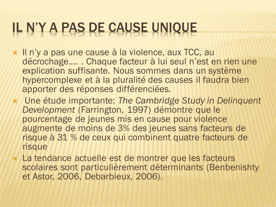 Il ny a pas une cause à la violence, aux TCC, au décrochage….. Chaque facteur à lui seul nest en rien une explication suffisante. Nous sommes dans un
