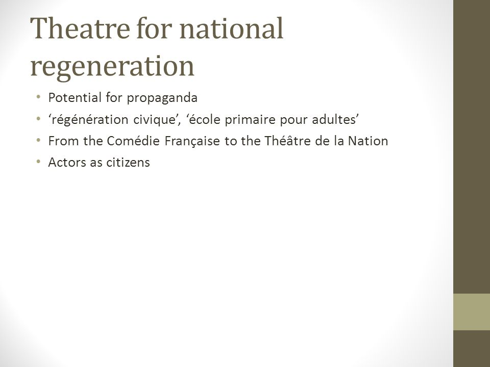 Theatre for national regeneration Potential for propaganda régénération civique, école primaire pour adultes From the Comédie Française to the Théâtre