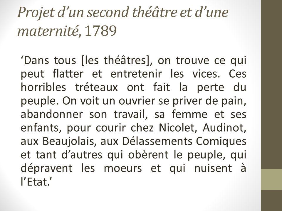 Projet dun second théâtre et dune maternité, 1789 Dans tous [les théâtres], on trouve ce qui peut flatter et entretenir les vices. Ces horribles tréte
