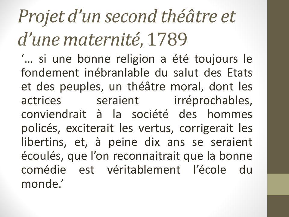 Projet dun second théâtre et dune maternité, 1789 … si une bonne religion a été toujours le fondement inébranlable du salut des Etats et des peuples,