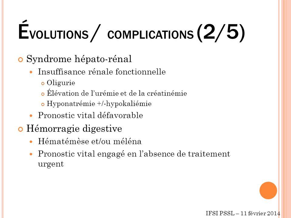 É VOLUTIONS / COMPLICATIONS (2/5) Syndrome hépato-rénal Insuffisance rénale fonctionnelle Oligurie Élévation de lurémie et de la créatinémie Hyponatré