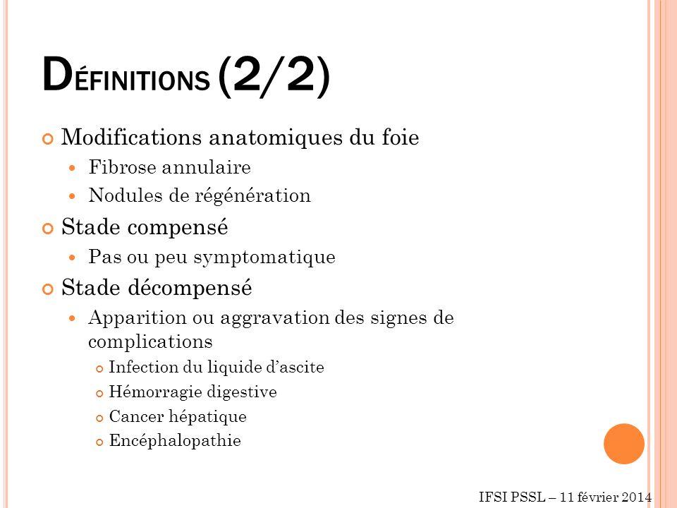 D ÉFINITIONS (2/2) Modifications anatomiques du foie Fibrose annulaire Nodules de régénération Stade compensé Pas ou peu symptomatique Stade décompens