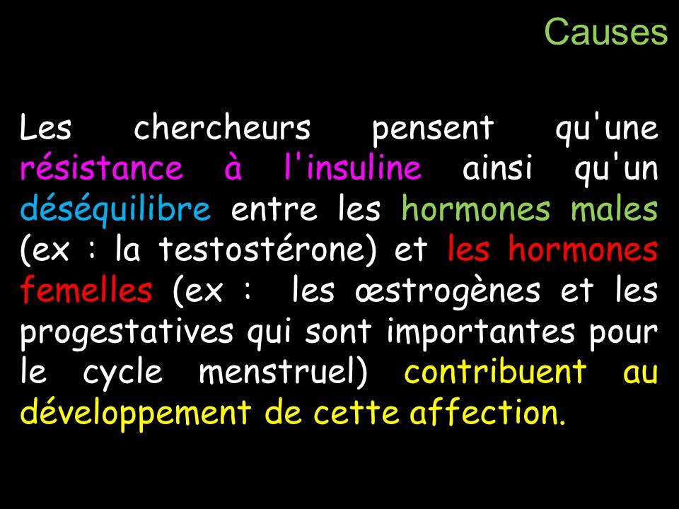 Les chercheurs pensent qu'une résistance à l'insuline ainsi qu'un déséquilibre entre les hormones males (ex : la testostérone) et les hormones femelle