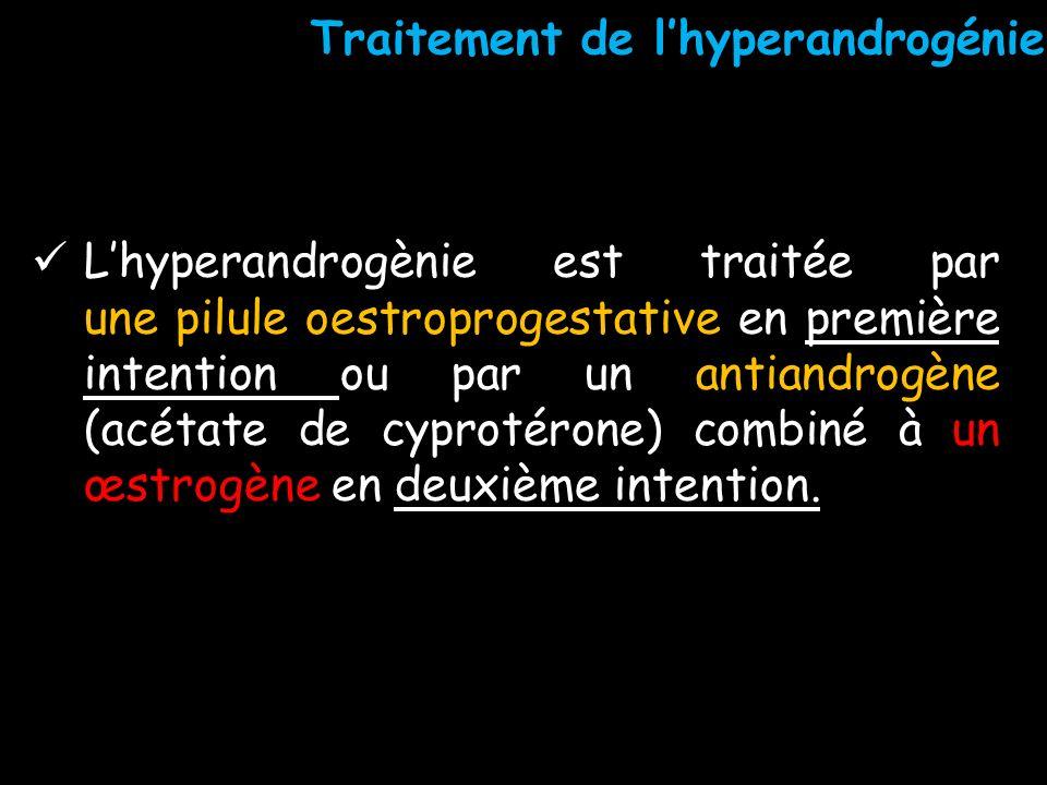 Lhyperandrogènie est traitée par une pilule oestroprogestative en première intention ou par un antiandrogène (acétate de cyprotérone) combiné à un œst