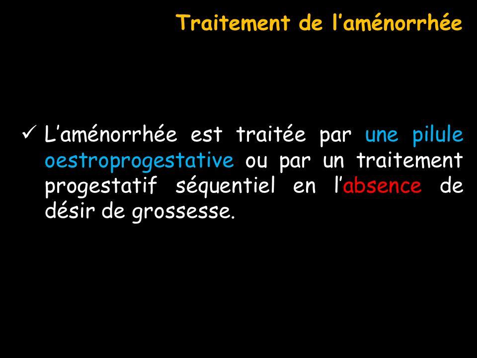 Laménorrhée est traitée par une pilule oestroprogestative ou par un traitement progestatif séquentiel en labsence de désir de grossesse. Traitement de
