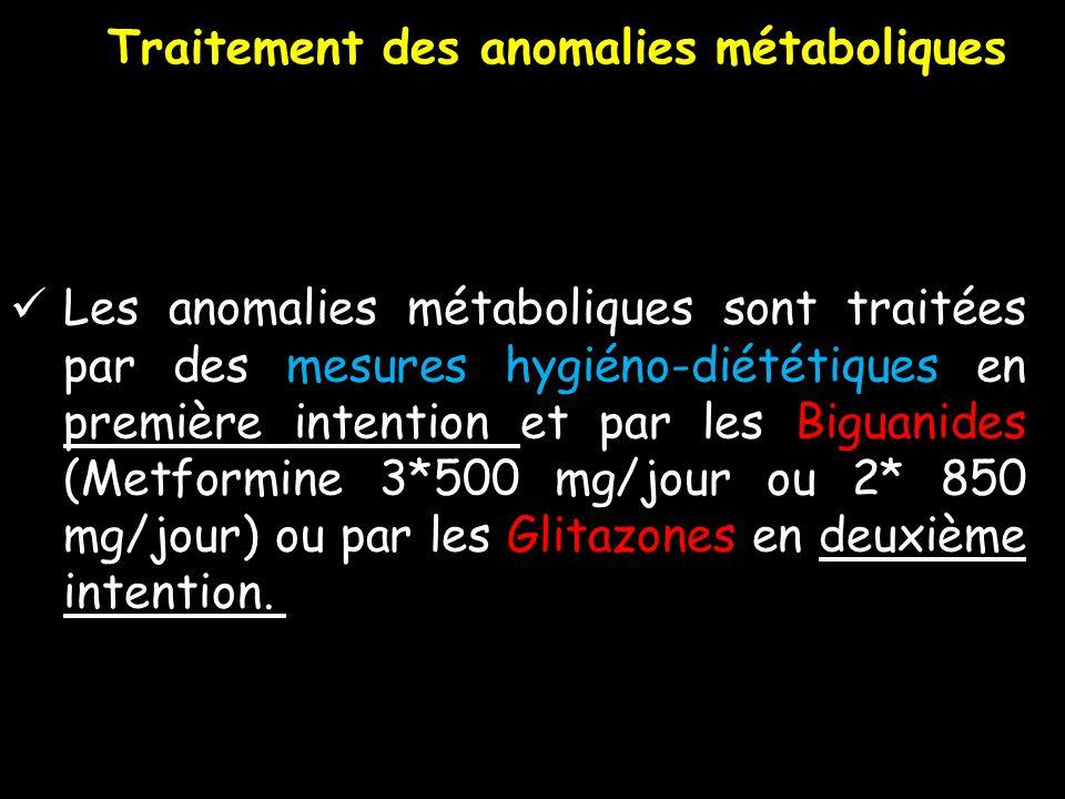 Les anomalies métaboliques sont traitées par des mesures hygiéno-diététiques en première intention et par les Biguanides (Metformine 3*500 mg/jour ou
