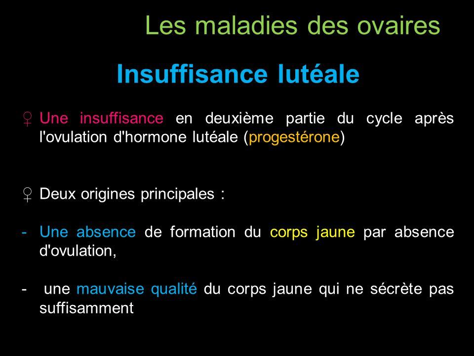 Insuffisance lutéale Une insuffisance en deuxième partie du cycle après l'ovulation d'hormone lutéale (progestérone) Deux origines principales : -Une