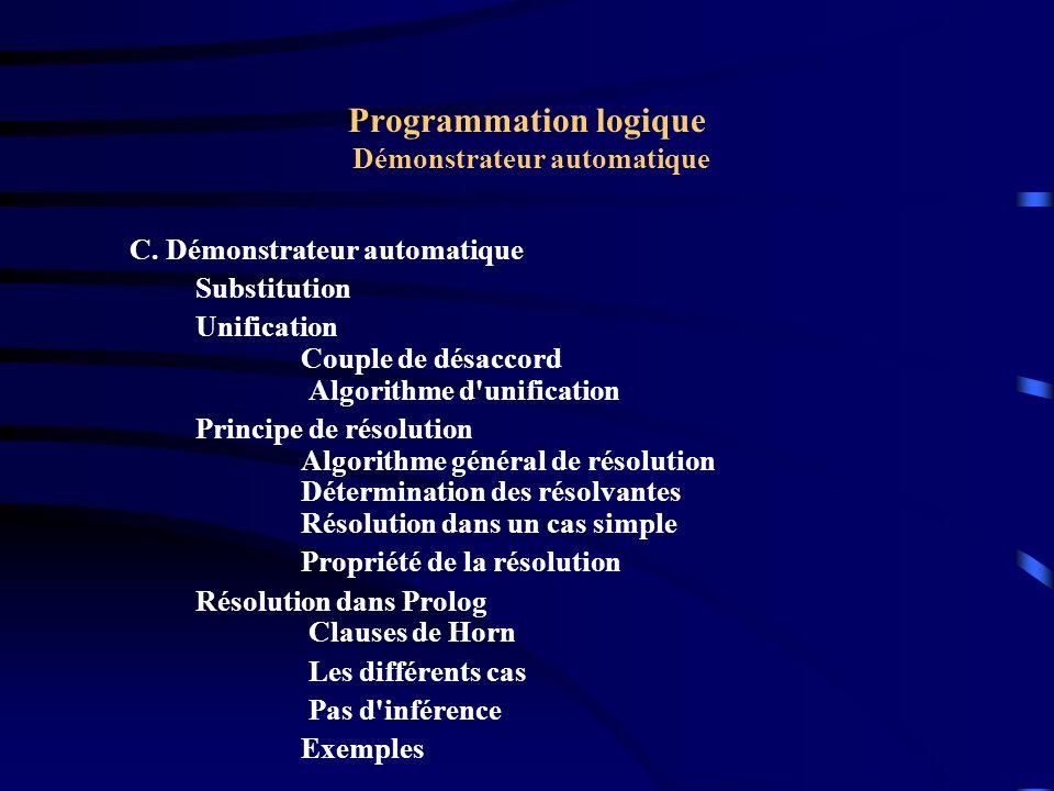 Programmation logique Démonstrateur automatique Substitution C est un ensemble {ti/xi} où xi sont des variables et ti sont des termes qui peuvent être des constantes, des variables ou des fonctions.
