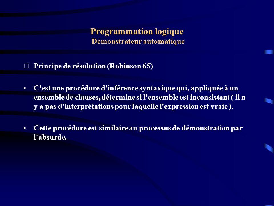 Programmation logique Démonstrateur automatique Principe de résolution (Robinson 65) Supposons que nous voulons démontrer { C1, C2,...Cn} --> D ou encore C1 & C2...