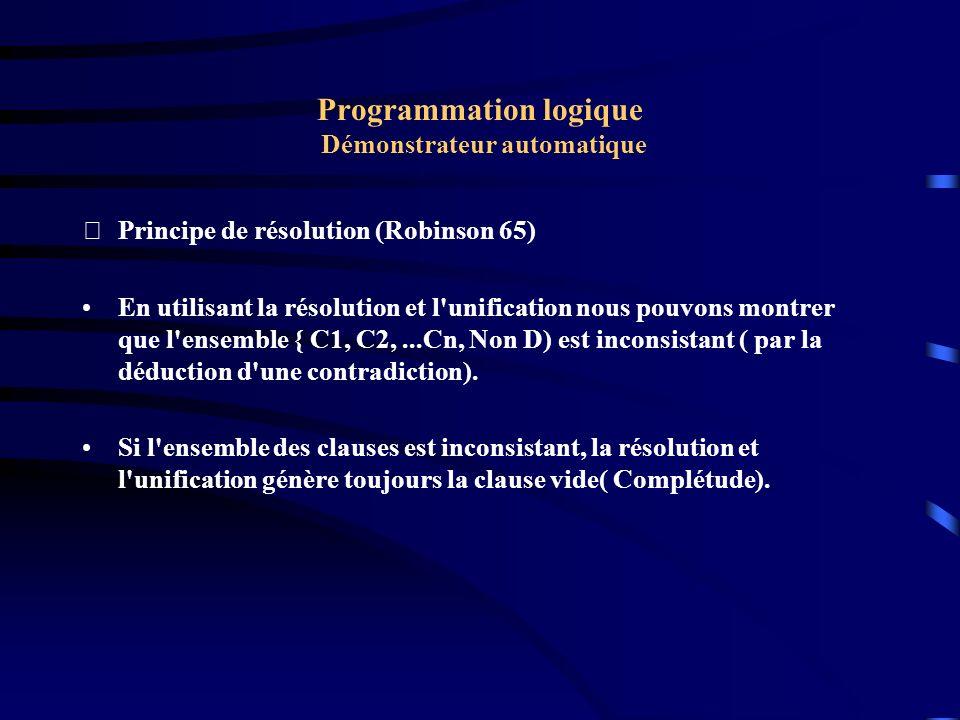 Programmation logique Démonstrateur automatique Détermination des résolvantes : Soient deux clauses C1 = A1 V A2.....