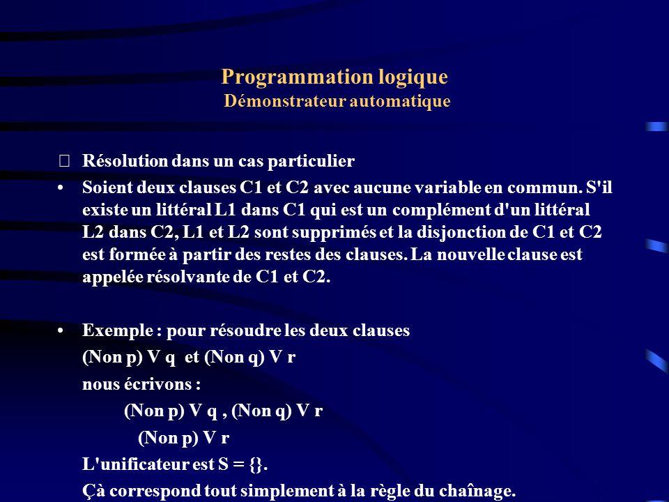 Programmation logique Démonstrateur automatique Résolution dans un cas particulier : Exemple Prouver A1 & A2 avec les hypothèses suivantes : C1: Non B1 V Non B2 V A1 C2: B1 C3: Non B1 V Non A2 V B2 C4: A2 Il s agit donc de réfuter l ensemble A0 = { C0, C1, C2, C3, C4} avec C0: Non A1 V Non A2