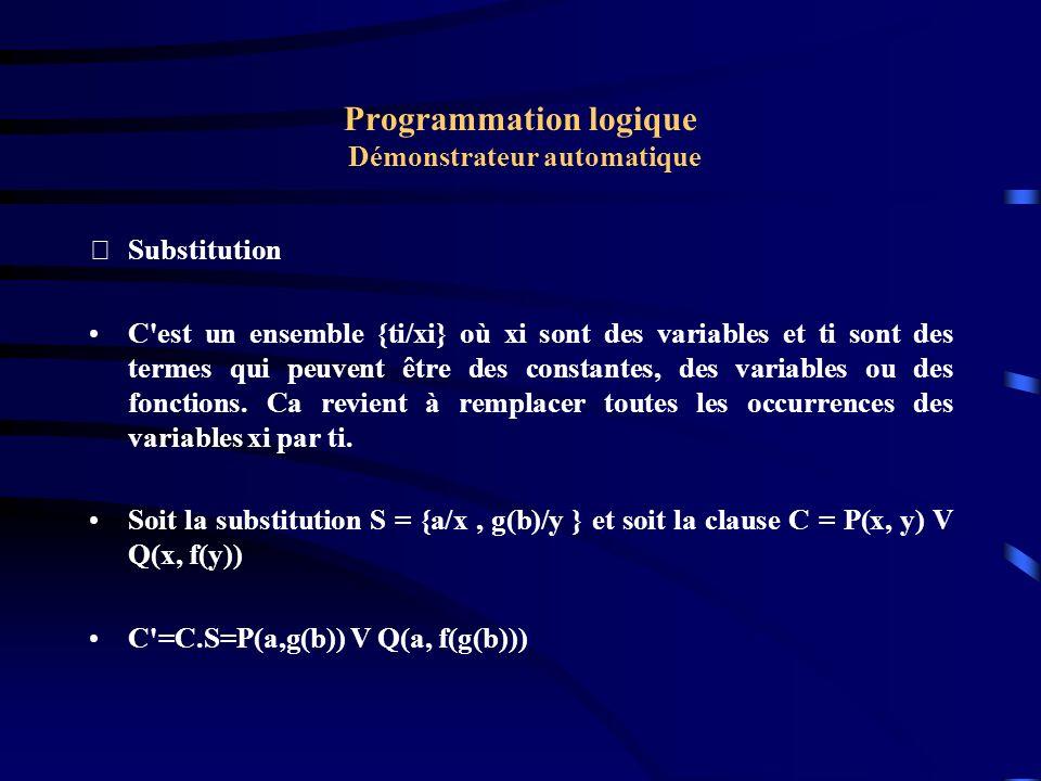 Programmation logique Démonstrateur automatique Unification Deux termes t1 et t2 sont unifiables s il existe une substitution S telle que S.t1 = S.t2 Un ensemble de termes {t1, t2,...tn} est unifiable s il existe une substitution S telle que S.t1 = S.t2 =....