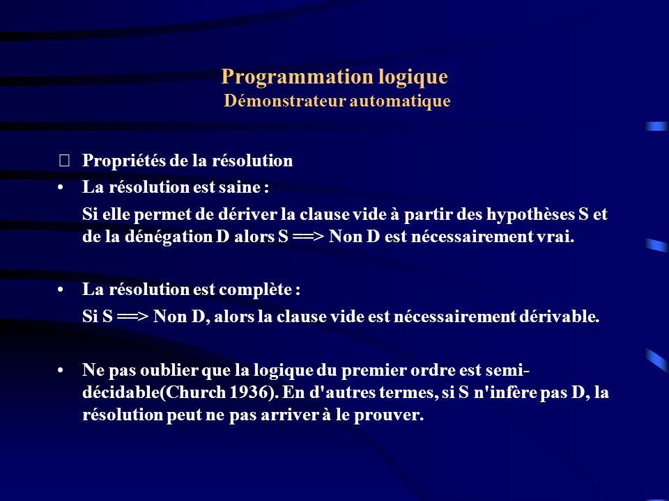 Programmation logique Démonstrateur automatique Résolution dans Prolog : clauses de Horn Dans Prolog, les énoncés sont restreints à deux types de formules(Logique des clauses de HORN) : assertion et implication.
