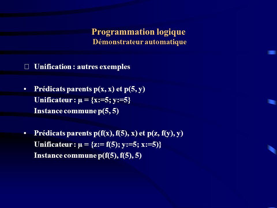 Programmation logique Démonstrateur automatique Unification : Couple de désaccord Le couple de désaccord D(t1, t2) entre deux termes t1 et t2 est le couple le plus à gauche et ne débutant pas par un symbole identique.