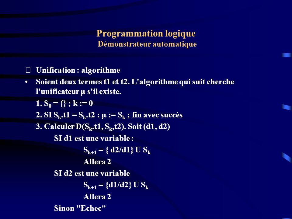 Programmation logique Démonstrateur automatique Unification : Exemple Dérouler l algorithme pour l exemple précédent t1 = f(g(u), z) t2 = f(g(h(t)), r(a)) S0 = {} ; D = {u,h(t)) S1 = S0 U { u/h(t) } = { u/h(t)} D = {z, r(a)} S2 = S1 U { z/r(a) } = { u/h(t), z/r(a))} S2 est l unificateur.