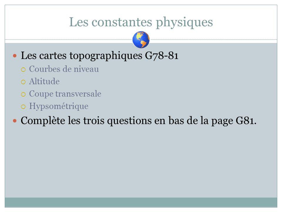 Les constantes physiques Les cartes topographiques G78-81 Courbes de niveau Altitude Coupe transversale Hypsométrique Complète les trois questions en