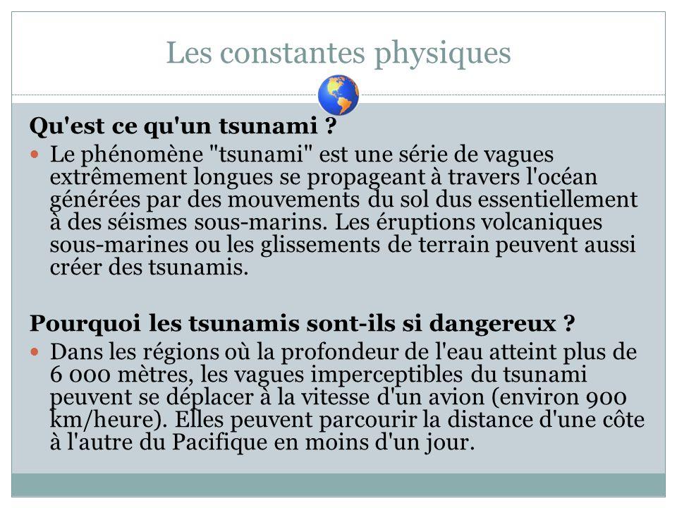 Les constantes physiques Qu'est ce qu'un tsunami ? Le phénomène