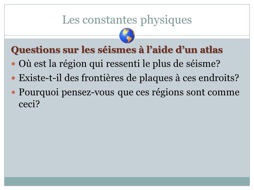Les constantes physiques Questions sur les séismes à laide dun atlas Où est la région qui ressenti le plus de séisme? Existe-t-il des frontières de pl