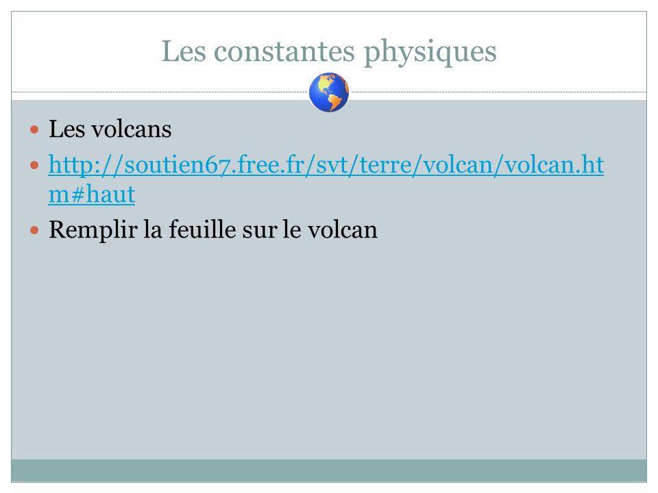 Les constantes physiques Les volcans http://soutien67.free.fr/svt/terre/volcan/volcan.ht m#haut http://soutien67.free.fr/svt/terre/volcan/volcan.ht m#