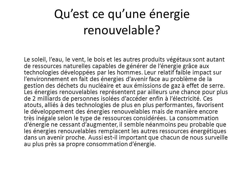 Quest ce quune énergie renouvelable? Le soleil, leau, le vent, le bois et les autres produits végétaux sont autant de ressources naturelles capables d
