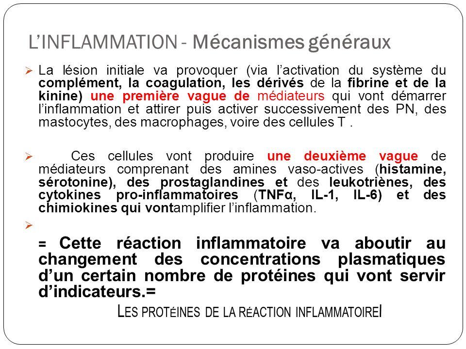 LINFLAMMATION - Mécanismes généraux La lésion initiale va provoquer (via lactivation du système du complément, la coagulation, les dérivés de la fibri