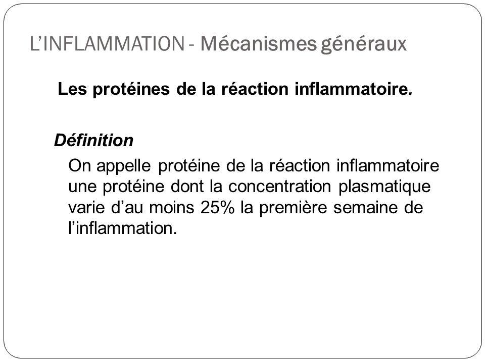 LINFLAMMATION - Mécanismes généraux Les protéines de la réaction inflammatoire. Définition On appelle protéine de la réaction inflammatoire une protéi