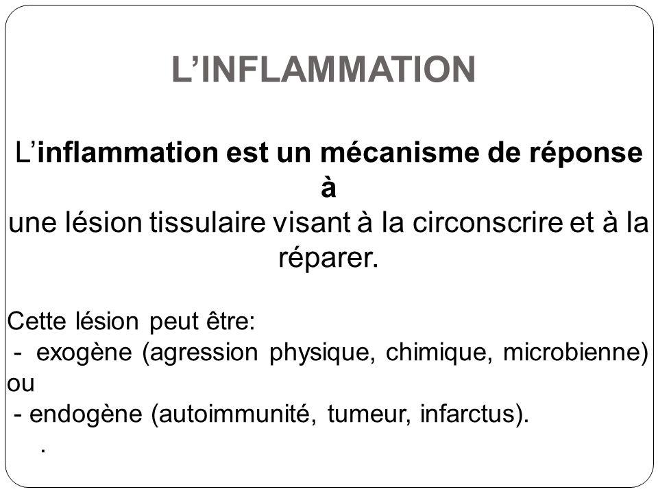 Linducter exogens - Micro-organismes (bactéries, virus, parasites, champignons); - Les agents physiques (rayonnements, l électricité, les traumatismes, les fluctuations de température –chaeleur ou froid); - Des agents chimiques exogène ou endogène; - L hypoxie Linducter endogens comme les cellules tumorales tuée, cristaux formés dans lorganisme (urée), les réactions immunitaires !!L inflammation est exprimée à la fois localement (dans les tissus touchés) et générale (non spécifique, dans le corps).!!