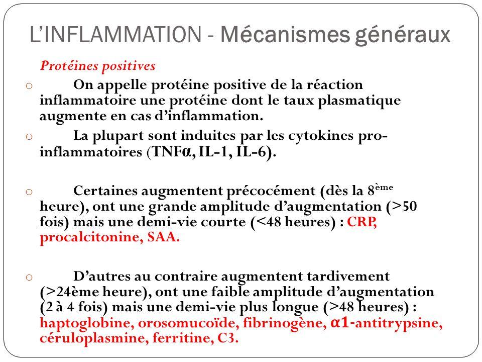 LINFLAMMATION - Mécanismes généraux Protéines positives o On appelle protéine positive de la réaction inflammatoire une protéine dont le taux plasmati