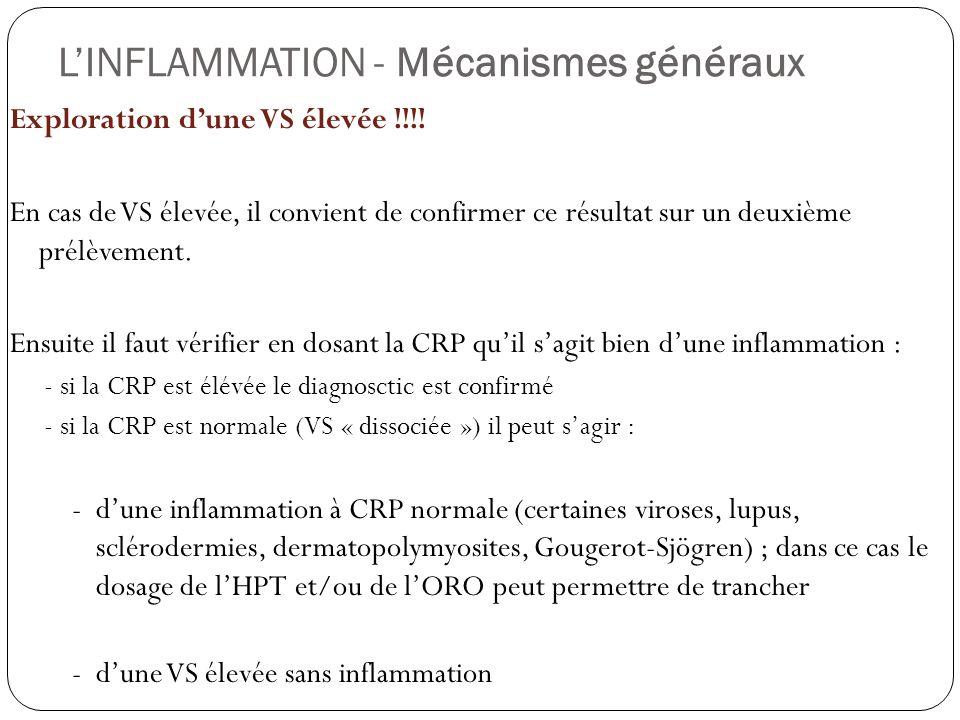 LINFLAMMATION - Mécanismes généraux Exploration dune VS élevée !!!! En cas de VS élevée, il convient de confirmer ce résultat sur un deuxième prélèvem