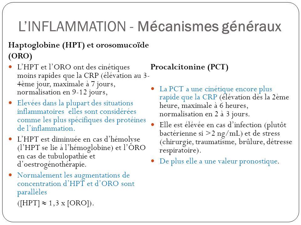 LINFLAMMATION - Mécanismes généraux Haptoglobine (HPT) et orosomucoïde (ORO) LHPT et lORO ont des cinétiques moins rapides que la CRP (élévation au 3-