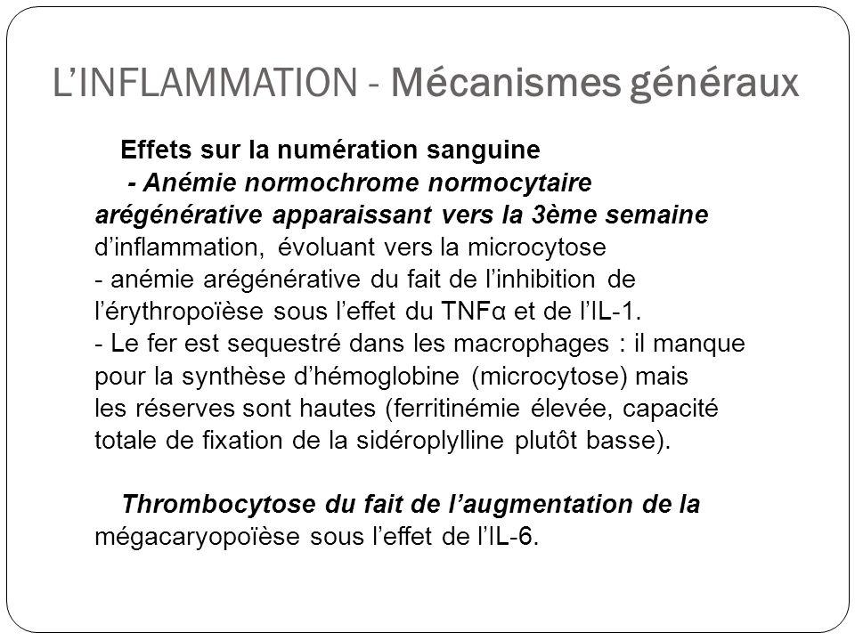 LINFLAMMATION - Mécanismes généraux Effets sur la numération sanguine - Anémie normochrome normocytaire arégénérative apparaissant vers la 3ème semain