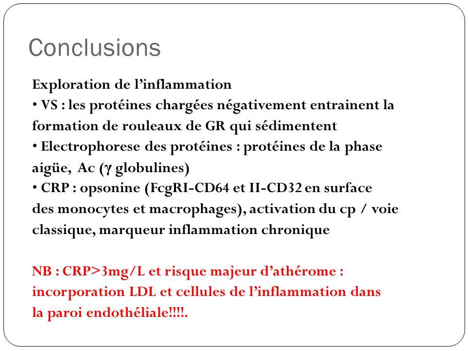 Conclusions Exploration de linflammation VS : les protéines chargées négativement entrainent la formation de rouleaux de GR qui sédimentent Electropho