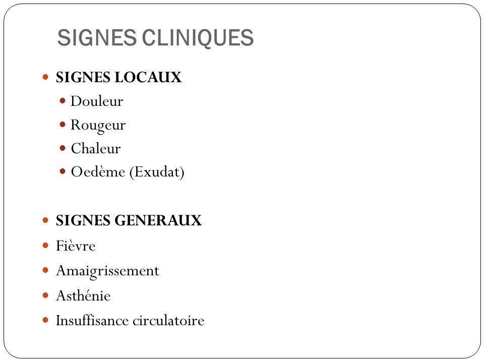 SIGNES CLINIQUES SIGNES LOCAUX Douleur Rougeur Chaleur Oedème (Exudat) SIGNES GENERAUX Fièvre Amaigrissement Asthénie Insuffisance circulatoire