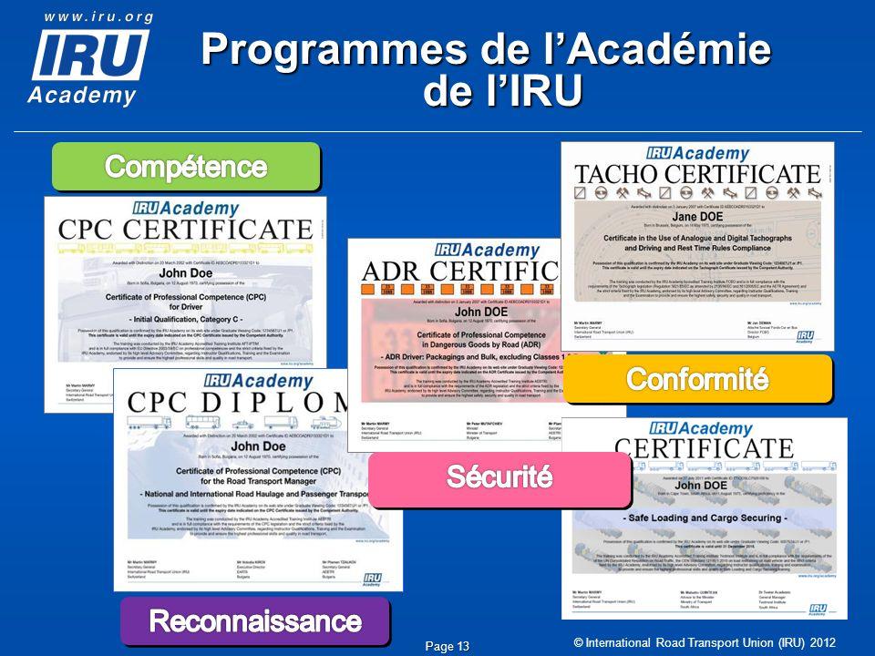 © International Road Transport Union (IRU) 2012 Programmes de lAcadémie de lIRU Page 13