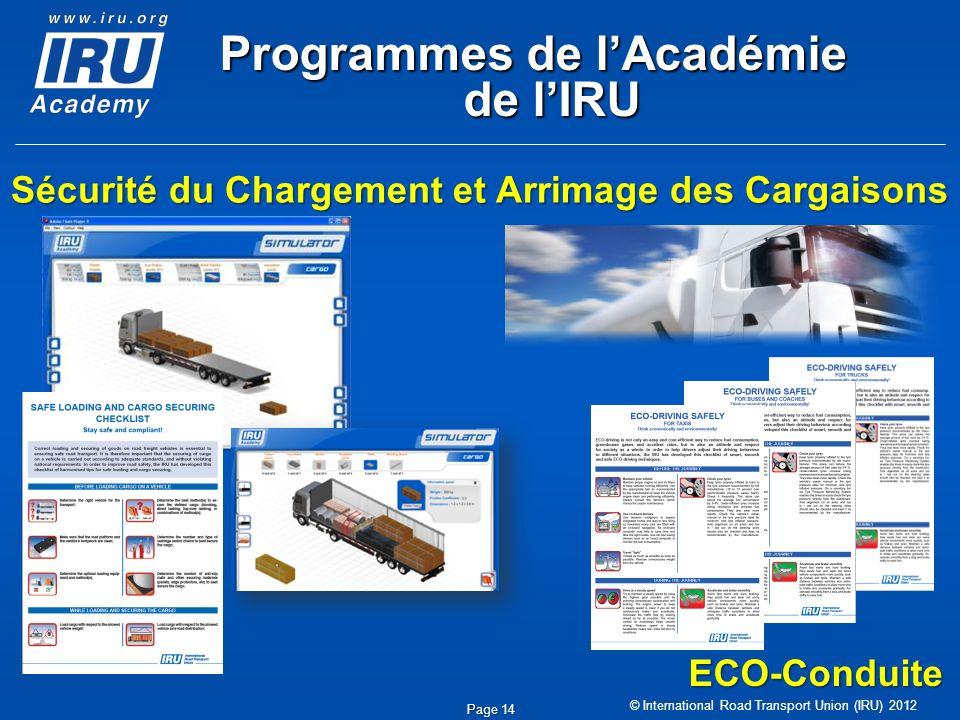 © International Road Transport Union (IRU) 2012 Page 14 Sécurité du Chargement et Arrimage des Cargaisons ECO-Conduite Programmes de lAcadémie de lIRU
