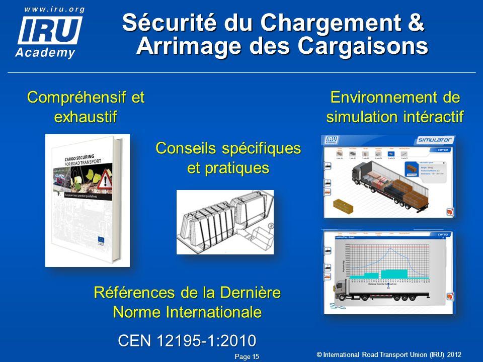 © International Road Transport Union (IRU) 2012 Sécurité du Chargement & Arrimage des Cargaisons Page 15 Environnement de simulation intéractif Compré