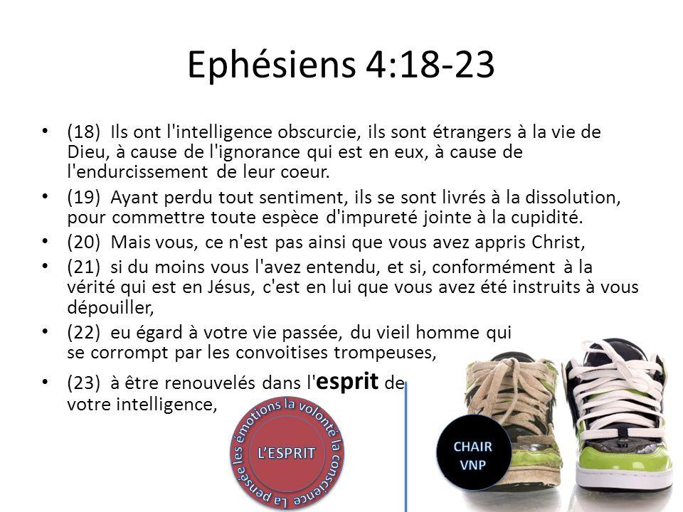 Ephésiens 4:18-23 (18) Ils ont l intelligence obscurcie, ils sont étrangers à la vie de Dieu, à cause de l ignorance qui est en eux, à cause de l endurcissement de leur coeur.