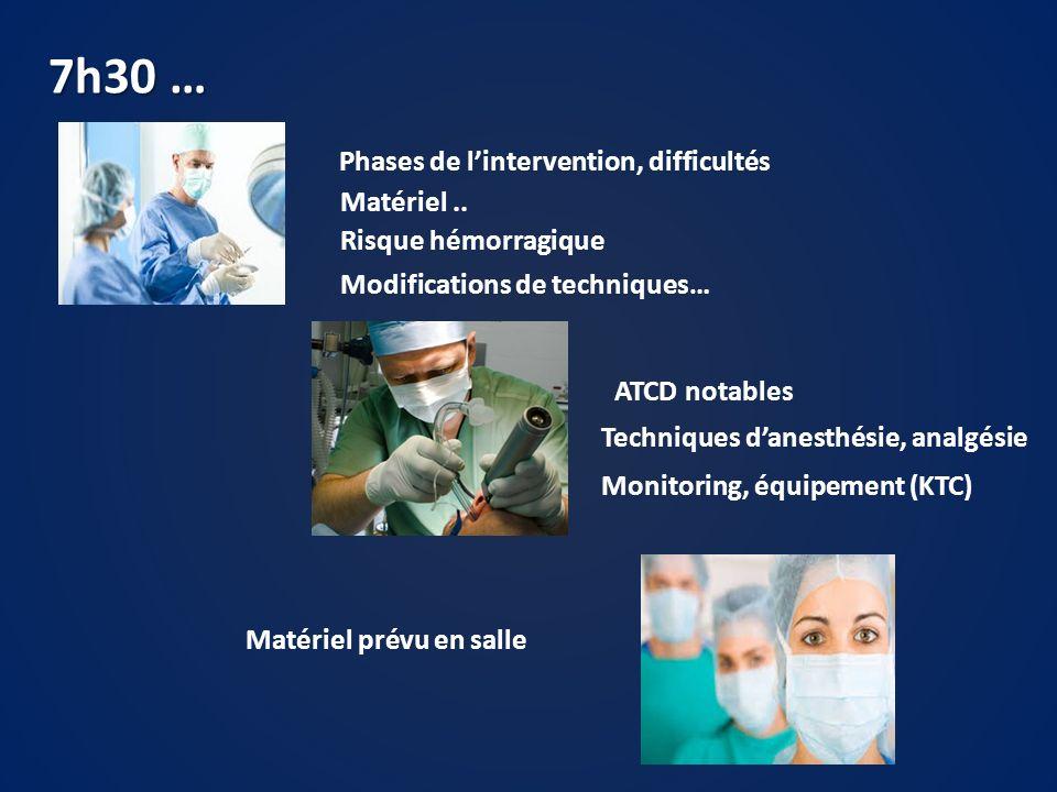 7h30 … Phases de lintervention, difficultés Matériel.. Risque hémorragique Modifications de techniques… Techniques danesthésie, analgésie ATCD notable
