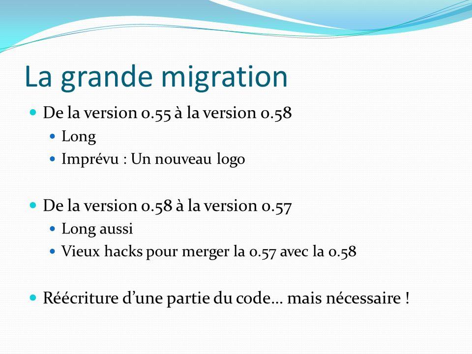 La grande migration De la version 0.55 à la version 0.58 Long Imprévu : Un nouveau logo De la version 0.58 à la version 0.57 Long aussi Vieux hacks pour merger la 0.57 avec la 0.58 Réécriture dune partie du code… mais nécessaire !