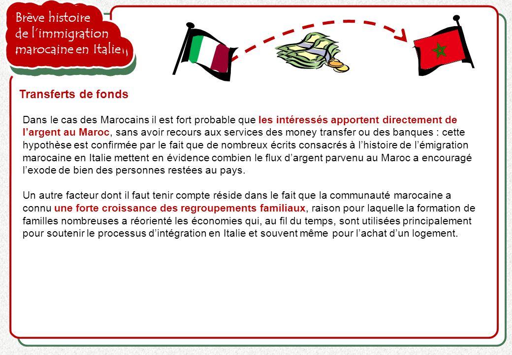 Brève histoire de limmigration marocaine en Italie Transferts de fonds Dans le cas des Marocains il est fort probable que les intéressés apportent dir