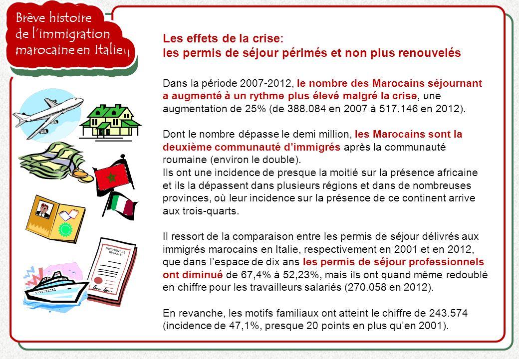 Brève histoire de limmigration marocaine en Italie Les effets de la crise: les permis de séjour périmés et non plus renouvelés Dans la période 2007-20