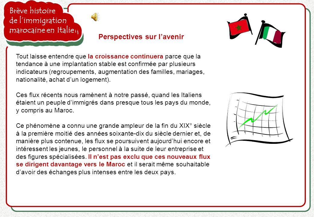 Brève histoire de limmigration marocaine en Italie Perspectives sur lavenir Tout laisse entendre que la croissance continuera parce que la tendance à