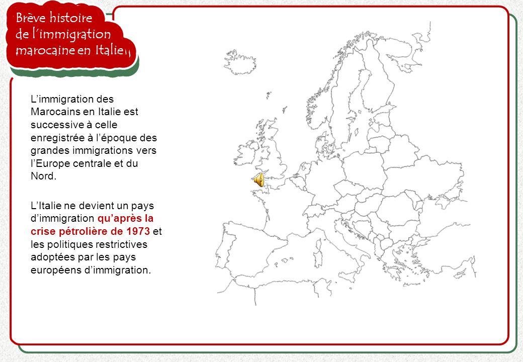 Brève histoire de limmigration marocaine en Italie LItalie ne devient un pays dimmigration quaprès la crise pétrolière de 1973 et les politiques restr