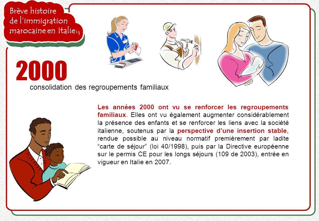 Brève histoire de limmigration marocaine en Italie 2000 consolidation des regroupements familiaux Les années 2000 ont vu se renforcer les regroupement