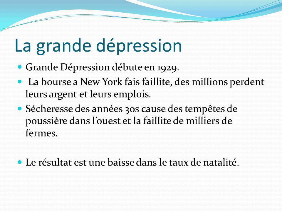 La grande dépression Grande Dépression débute en 1929. La bourse a New York fais faillite, des millions perdent leurs argent et leurs emplois. Séchere