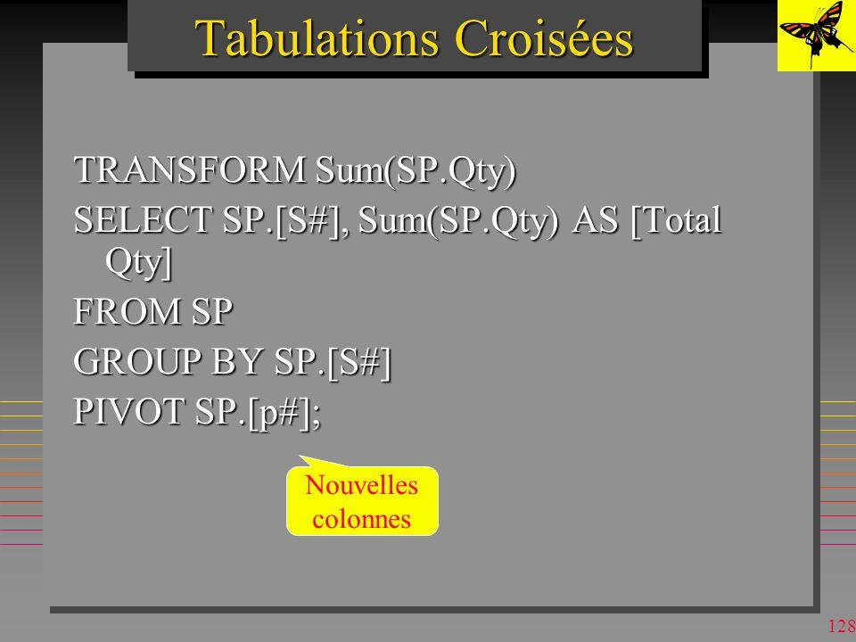 127 Tabulations Croisées (Crosstab queries) n Présentent les résultat sous forme habituelle de feuilles de calculs –Les agrégats SUM, AVG.. de GROUP B