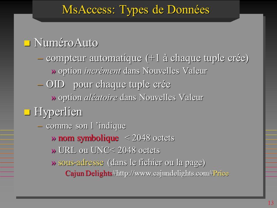 12 MsAccess: Types de Données n Date/Heure –supporte larithmétique de dates/temps »21/3 - 21/2 = 28 »21/4 - 21/3 = 31 ? –prévu pour 21-ème siècle »1/1