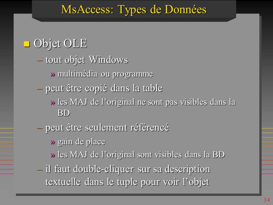 13 MsAccess: Types de Données n NuméroAuto –compteur automatique (+1 à chaque tuple crée) »option incrément dans Nouvelles Valeur –OID pour chaque tup