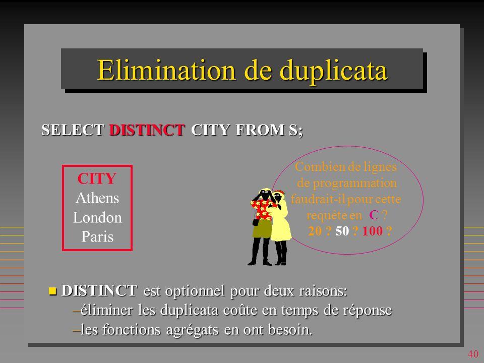 39 Selection avec duplicata SELECT CITY FROM S; Le résultat peut avoir les duplicata Le résultat peut avoir les duplicata alors, il n est pas une relation, mais un bag alors, il n est pas une relation, mais un bag