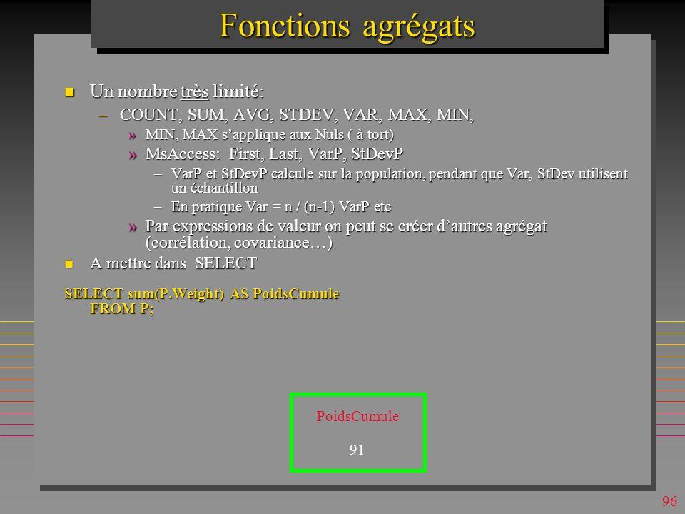 95 Jointure Automatique Une jointure implicite entre deux attributs de deux tables différentes sélectionnées pour une requête : –sans lien sémantique